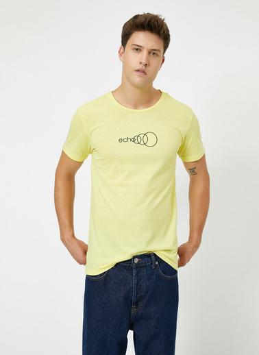Koton Bisiklet Yaka Yazili Baskili Kisa Kollu T-Shirt Sarı